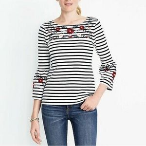 J. Crew Striped Embroidered Bell Sleeve Top